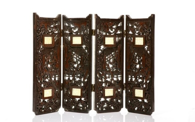 CHINESE WOOD SCREEN WITH JADE PLAQUES