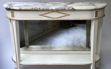 CONSOLE TABLE, French Directoire style grey painted and parc...