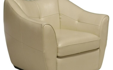 CONTEMPORARY LEATHER UPHOLSTERED SWIVEL ARMCHAIR