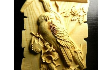 Carved Falcon, Falconry Hunting Scrolled Wooden Plaque
