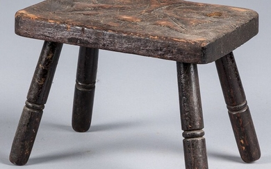 Carved walnut footstool, late 19th c.