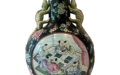 Chinese Moon Flask Vase with Split Tail Lizard Handles