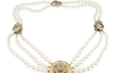 Cultured Pearl Necklace with Victorian Pendant