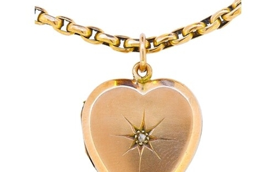 DIAMOND HEART LOCKET PENDANT WITH NECKLACE, The heart shaped...
