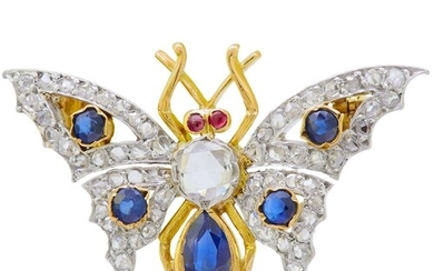 DIAMOND SAPPHIRE AND RUBY BUTTERFLY BROOCH, set with diamond...