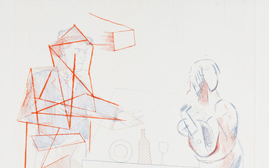 David Hockney, Figures with Still Life, from The Blue Guitar (S.A.C. 208, M.C.A.T. 187)