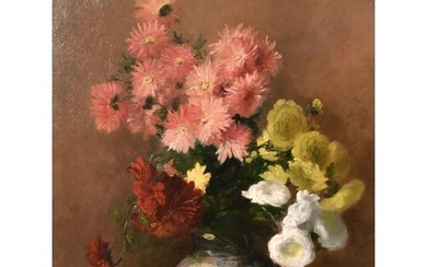French school (c. 1884) A still life of mixed flowers in an ...