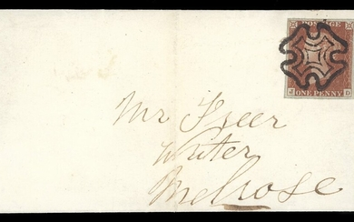 Great Britain 1841-53 One Penny Red-Brown Plate 13: JD, large margins and showing a portion of...