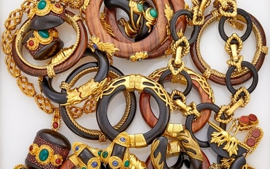 Group of Gilt-Metal, Wood, Acrylic, Multicolored Glass and Leather Jewelry