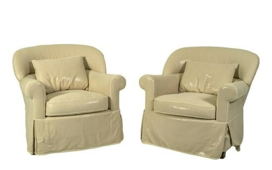 Hollywood Regency Faux White Python Armchairs PAIR