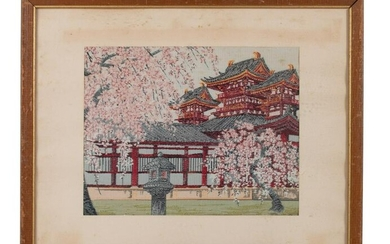 Japanese Silk Embroidery Temple Landscape