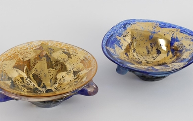 Jean Claude Novaro, two art glass blue and gilt bowls