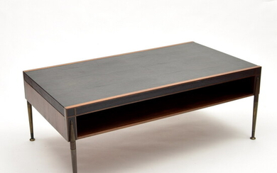 Luxury wooden sofa-table with decorated bronze legs and leather table-top,...