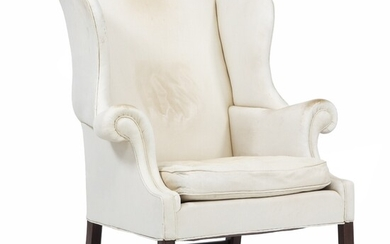 Lysberg Hansen & Terp: A wing chair in the English style with white leater upholstered...