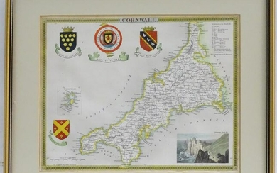 Map: A 19thC hand coloured engraved map of