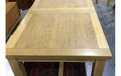 Modern oak dining table, 6 matching chairs and bench, and on...