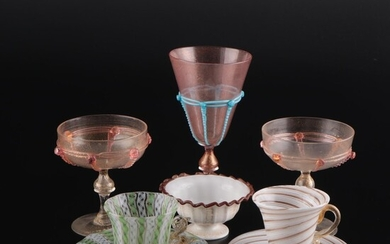 Murano Art Glass Champagne Coupes, Goblet, Cup and Saucers, and Decorative Bowl