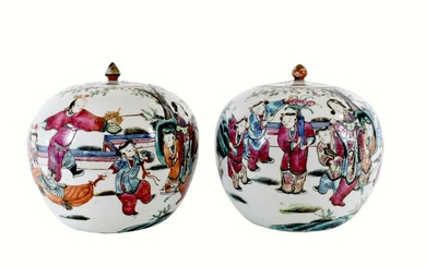 PAIR OF CHINESE FAMILLE ROSE DECORATED COVERED JARS
