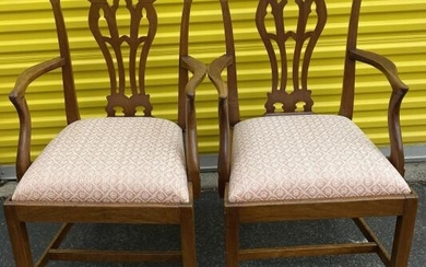 Pair Antique Chippendale Upholstered Side Chairs
