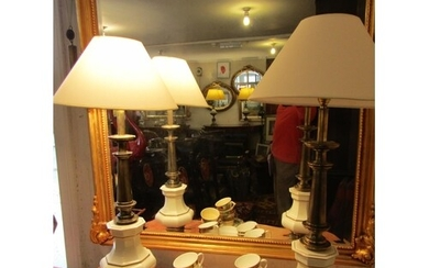 Pair of Enamel Decorated Cast Brass Table Lamps Each Approxi...