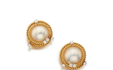 Pair of Mabé Pearl and Diamond Earclips, Schlumberger for Tiffany & Co.