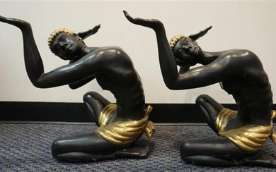 Pair of Partial Gilt Bronze Figures of Seated Nubians, H: 19 inches