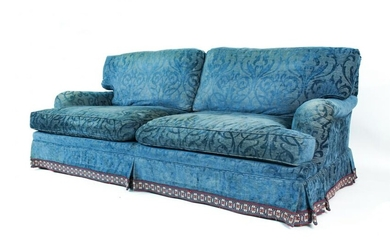 ROLLED-ARM CHENILLE DAMASK SOFA