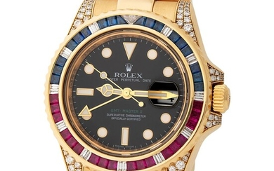 Rolex. Precious and Striking GMT-Master II SARU Automatic Wristwatch in Yellow Gold, Reference 116 758, With Diamond, Sapphire and Ruby-Set