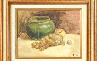 Signed Mid C Oil Painting of Fruit Still Life