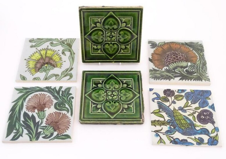 Six ceramic tiles, to include floral and foliate