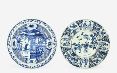 Two Large Chinese Blue and White Porcelain Dishes