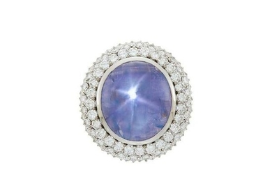 White Gold, Star Sapphire and Diamond Ring