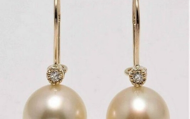 14 kt. Yellow Gold - 11x12mm Golden South Sea Pearls