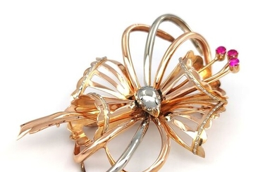 18 kt. White gold, Yellow gold - Brooch - Red stones