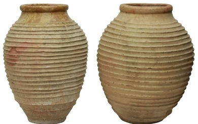 """(2) LARGE CONTINENTAL TERRACOTTA OLIVE JARS, 33""""H"""