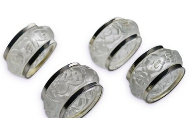 (4Pc) Lalique Style Crystal Napkin Rings