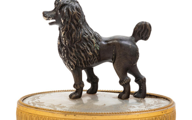 A Continental Gilt and Patinated Bronze Mother of Pearl Inset Figure of a Poodle