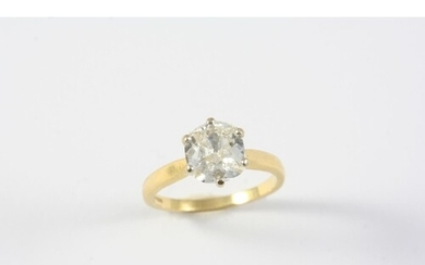 A DIAMOND SOLITAIRE RING the cushion-shaped old-cut diamond ...