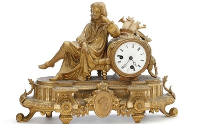 A French figural gilt bronze and zinc table clock, white enamel dial. Late 19th century. H. 30 cm. W. 41 cm. D. 11 cm. – Bruun Rasmussen Auctioneers of Fine Art