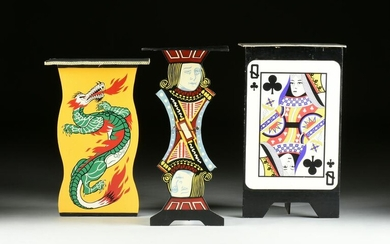 A GROUP OF THREE MAGICIAN'S PAINTED WOOD SIDE TABLES