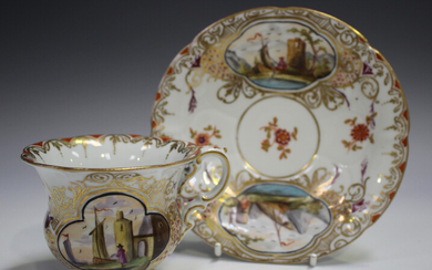 A Meissen porcelain teacup and saucer, late 19th century, outside factory decorated, painted with qu