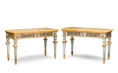 A PAIR OF ITALIAN NEOCLASSICAL STYLE MARBLE TOP PARCEL GILT AND BLUE PAINTED WOOD CONSOLE TABLES