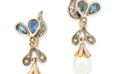 A PAIR OF PEARL, SAPPHIRE AND DIAMOND EARRINGS in