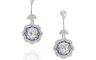 A PAIR OF PLATINUM, DIAMOND AND SAPPHIRE DROP EARRINGS