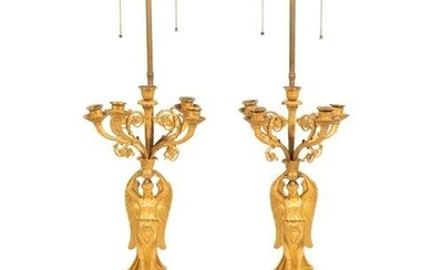 A Pair of Empire Style Gilt Bronze Figural Candelabra