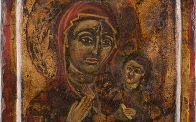 A SMALL ICON SHOWING THE HODIGITRIA MOTHER OF GOD Greek,...