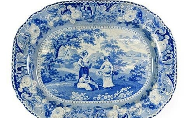 A Staffordshire Pearlware Meat Platter, circa 1820, printed in underglaze...