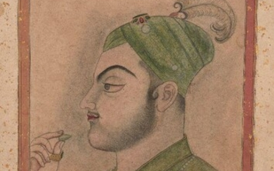 A large portrait of Muhammad Azam Shah (r. 14 March 1707 - 8 June 1707), Kishangargh school, early 19th century, gouache on paper, on a gold flecked album page with five lines of black nastaliq Persian to reverse and below five lines of devangari...