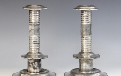A pair of 17th century style silver plated candlesticks, Mar...
