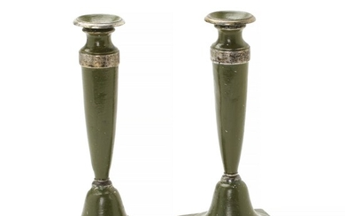 NOT SOLD. A pair of Northern GermanEmpire early 19th c. green-painted pewter candlesticks. H. 24...